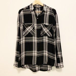 Express Black and White Checkered Top